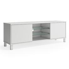 Rack Madeira Branco com Porta 150x40x52cm Glass P&C