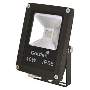 Refletor LED Golden Retangular Metal Preto 10W Bivolt