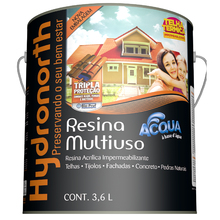 Resina Brilhante Multiuso Acqua Vermelho Óxido 3,6L Hydronorth