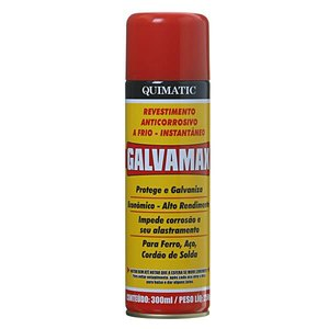 Revestimento Anticorrosivo Instantâneo a Frio Galvamax Spray 300ml Quimatic Tapmatic