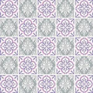 Revestimento Auto Adesivo Azulejo Cinza e Lilás 20x20cm (cada) 25 peças Tac Decor