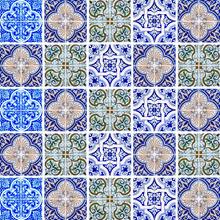 Revestimento Auto Adesivo Azulejo Português Azul 15x15cm (cada) 25 peças Tac Decor