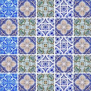 Revestimento Auto Adesivo Azulejo Português Azul 20x20cm (cada) 25 peças Tac Decor