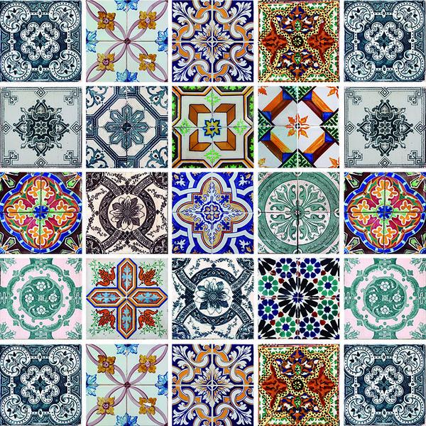 Adesivo De Onça ~ Kit de Adesivos Mosaico Colorido 20x20cm 24 peças Inspire Leroy Merlin
