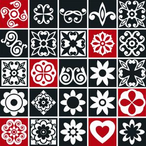 Revestimento Auto Adesivo Mosaico Preto/Vermelho 10x10cm (cada) 25 peças Tac Decor