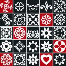 Revestimento Auto Adesivo Mosaico Preto/Vermelho 20x20cm (cada) 25 peças Tac Decor