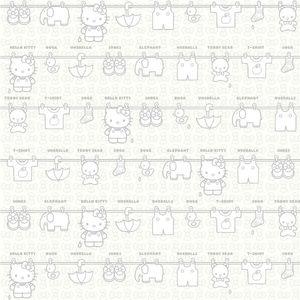 Revestimento Branco Decorado Varal 20x20cm Hello Kitty
