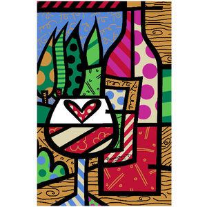 Revestimento Brilhante Bold Decorado Romero Britto Kitchen Wine 34x50 Pamesa