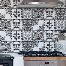 Revestimento Decorativo Azulejos Preto e Branco 44x300cm