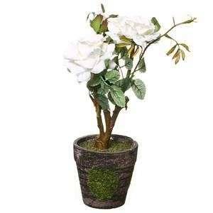 Roseira Mini com Vaso 26cm Branca Flor Arte