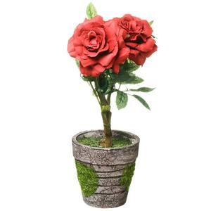 Roseira Mini com Vaso 26cm Vermelha Flor Arte