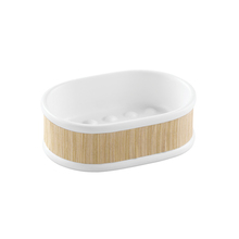 Saboneteira Branca e Marrom em Cerâmica e Bambu Essential Interdesign