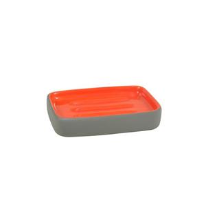 Saboneteira Cinza e Laranja em Plástico Flashy Importado