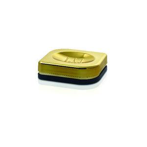Saboneteira Pia Plástico e Metal Preto e Dourado