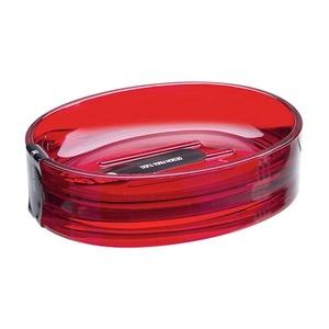 Saboneteira Pia Plástico Oval Spoom Vermelho Transparente
