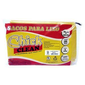 Saco para Lixo Reciclável 5 unidades 100L Amarelo Chick Home