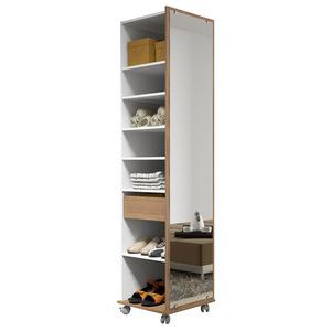 Sapateira Modular 14 Pares Branca/Castanho c/Espelho e Rodas 190x45x45 cm