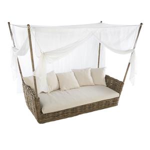 Sofá com Cobertura Fibra Versalhes 3 Lugares Branco e Marrom 63x236cm