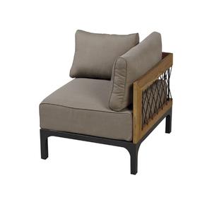Sofá de Canto Alumínio/Madeira Windsor 1 Lugar Marrom e Taupe 65x75cm