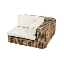 Sofá de Canto Fibra Modena 1 Lugar Branco e Marrom 63,5x120cm