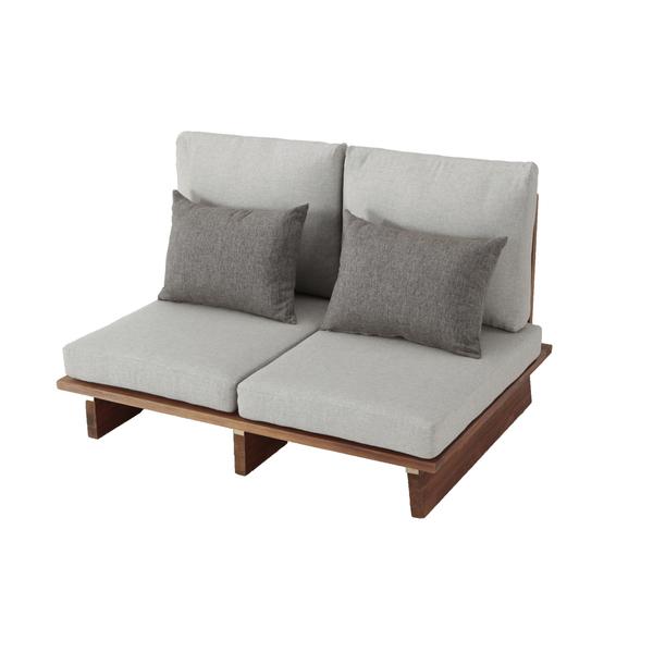 Sof madeira 2 lugares vintage cinza e marrom 73x180cm for Sofa exterior leroy