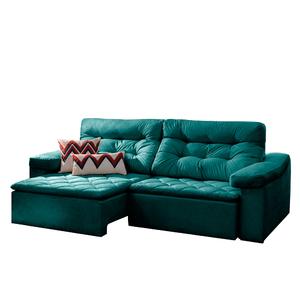 Sofá Retrátil E Reclinável 3 Lugares Azul Esmeralda Em ...