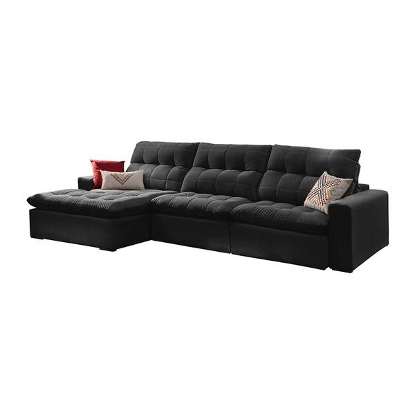 Remarkable Sofa Retratil E Reclinavel 4 Lugares Preto Com Chaise Octans Pdpeps Interior Chair Design Pdpepsorg