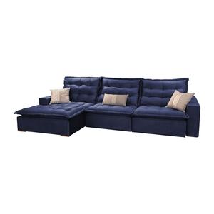 Sofá Retrátil E Reclinável 5 Lugares Plus Azul Com Chaise ...