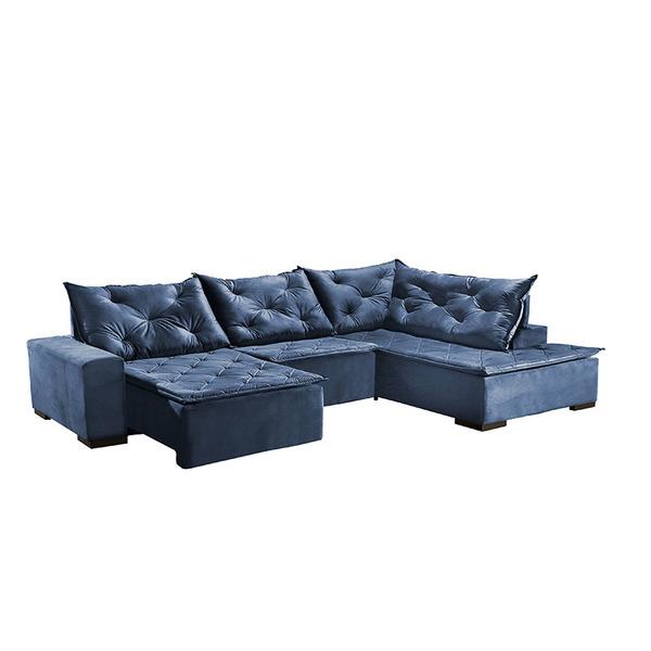 Brilliant Sofa Retratil E Reclinavel 7 Lugares Azul Veludo Com Chaise Evergreenethics Interior Chair Design Evergreenethicsorg