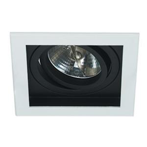 Spot de Embutir NS7111P Bella Quadrado Alumínio Branco/Preto 1 Lamp Bivolt