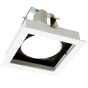 Spot de Embutir Metal Técnica Quadrado Alumínio Branco/Preto 50W Bivolt