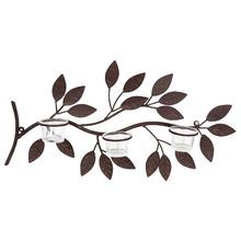 Suporte de ferro Arabesco Folhas 3 Velas Marrom envelhecido Home Garden