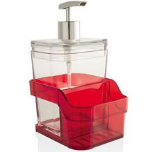 Suporte para Detergente e Esponja Sobre Pia 400 ml Aço e Plástico Vermelho Martiplast