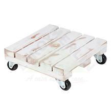 Suporte Vaso de Chão Madeira Quadrado Branco 34 cm Massol