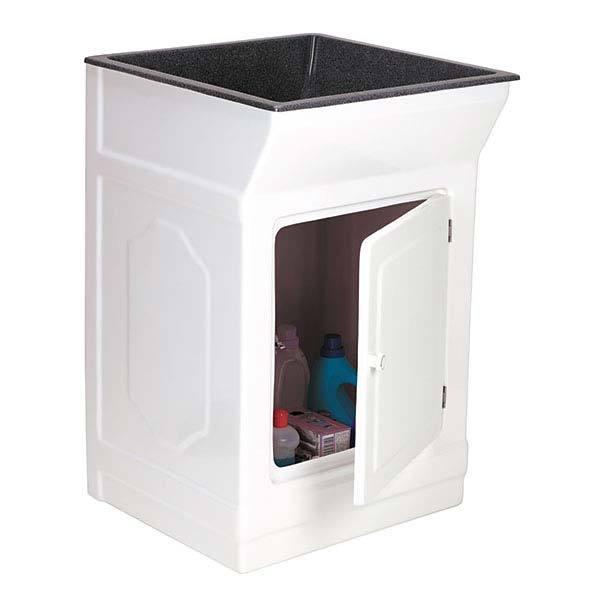 Tanque simples quadrado fibra de vidro e marmorite branco for Fibra ceramica leroy merlin