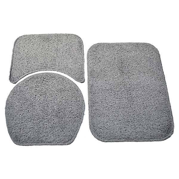 a0bb19b5a3 Jogo Tapete de Banheiro Antiderrapante Safira Cinza Tecido 3 Peças Braz  Textil