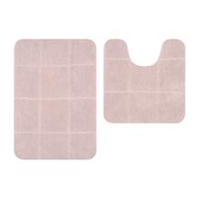 Tapete de Banheiro Antiderrapante Tecido Retangular Caramelo 2 peças