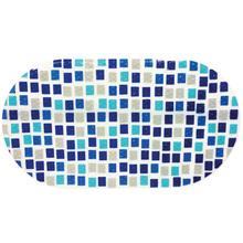 Tapete de Banheiro Plástico Oval Azul 1 peça
