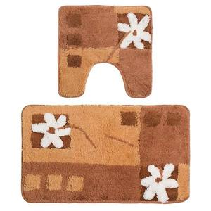 Tapete de Banheiro Ret 2 peças Bco/Mar/Bege Flores 75x45cm Komeco