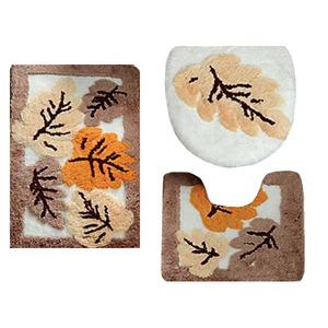 Tapete de Banheiro Ret 3 peças Branco/Bege Folhas 75x45cm Komeco