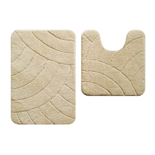 Tapete de Banheiro Tecido Retangular Bege 2 peças