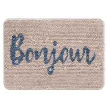 Tapete de Banheiro Tecido Retangular Bonjour Bege|Azul 50x70cm Jolitex