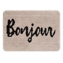 Tapete de Banheiro Tecido Retangular Bonjour Bege|Preto 50x70cm Jolitex