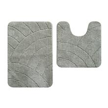 Tapete de Banheiro Tecido Retangular Cinza 2 peças