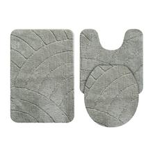 Tapete de Banheiro Tecido Retangular Cinza 3 peças