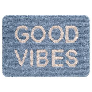 Tapete de Banheiro Tecido Retangular Good Vibes Azul 50x70cm Jolitex