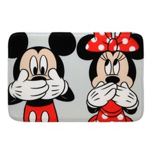 Tapete de Banheiro Tecido Retangular Mickey e Minnie Multicolorido 40x60cm Mabruk