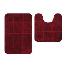 Tapete de Banheiro Tecido Retangular Vermelho 2 peças