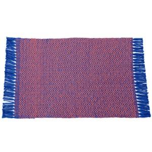 Tapete Étnico Losango Azul com Laranja 40x60cm