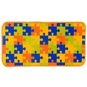 Tapete Infantil Poliamida Quebra-Cabeça Colorido Kapazi 1,00x0,50m